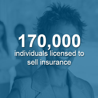 170,000 individuals licensed to sell insurance