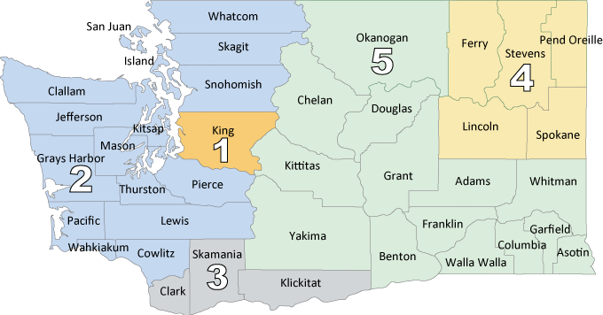 Map of Washington state counties